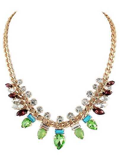 Green Gemstone Fashion Gold Chain Necklace