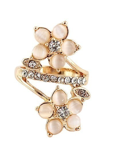 Gold Diamond Flowers Ring