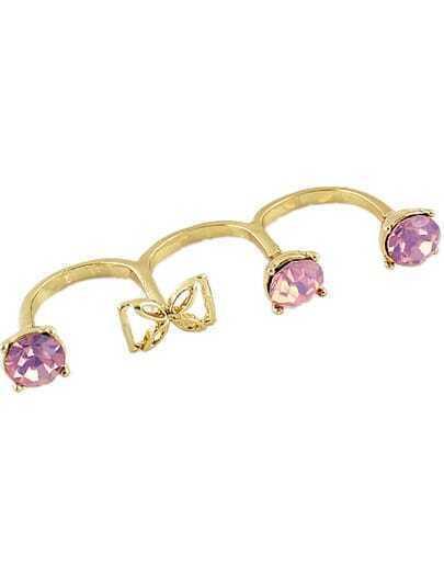 Purple Gemstone Gold Bow Three Fingers Ring