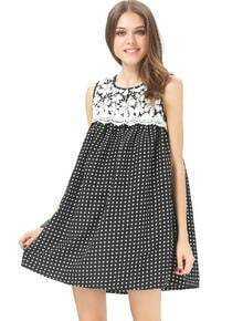 Black White Crochet Lace Sleeveless Swing Dress In Spot