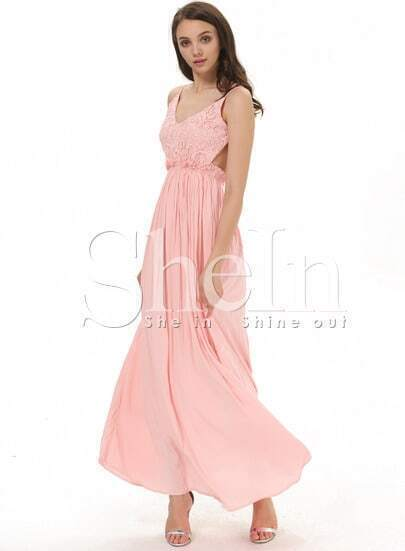 Pink Spaghetti Strap Embroidered Pleated Maxi Dress