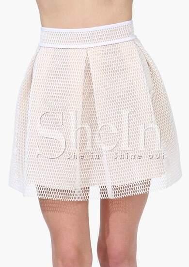 White High Waist Net Skater Skirt