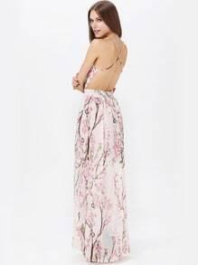 Apricot Florals V-neck Spaghetti Straps Backless Maxi Dress