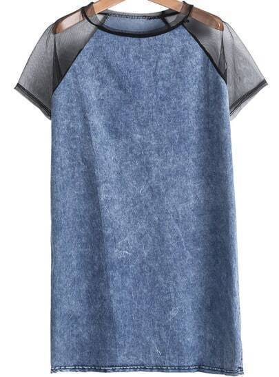 Blue Contrast Sheer Mesh Yoke Denim Dress