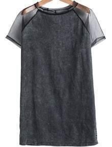 Black Contrast Sheer Mesh Yoke Denim Dress