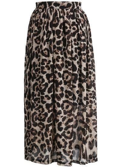 Apricot Leopard Pleated Chiffon Skirt