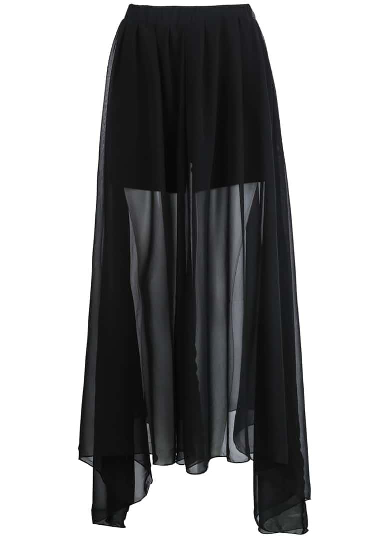 black elastic waist sheer pleated skirt shein sheinside