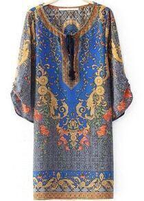 Blue Half Sleeve Woven Vintage Floral Loose Dress