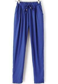 Blue Drawstring Waist Pockets Loose Pant