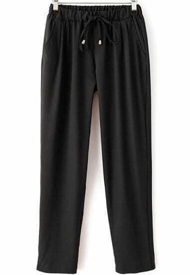 lockere Hose mit Gummizug an der Taille, schwarz