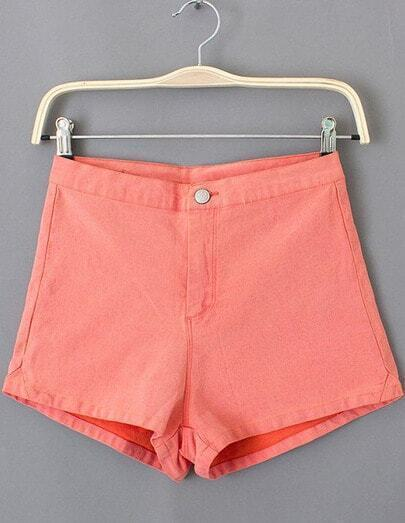 Red Button Pockets Straight Shorts
