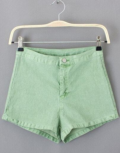 Green Button Pockets Straight Shorts