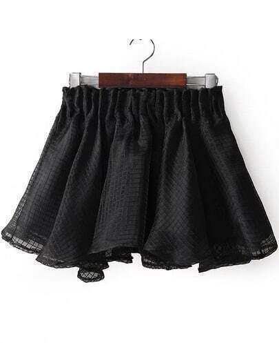 Black Elastic Waist Plaid Flare Skirt