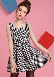 Black White Sleeveless Plaid Bow Dress