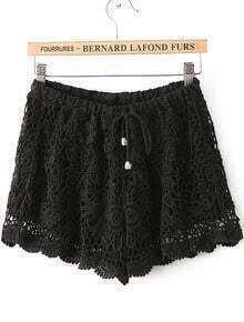 Black Drawstring Waist Hollow Lace Shorts