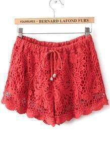 Red Drawstring Waist Hollow Lace Shorts