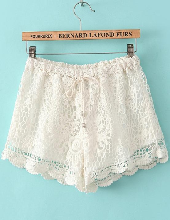 White Drawstring Waist Hollow Lace Shorts -SheIn(Sheinside)