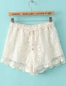 White Drawstring Waist Hollow Lace Shorts