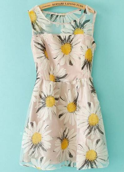White Sleeveless Sunflowers Print Organza Dress