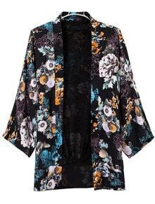 Black Lapel Vintage Floral Loose Coat