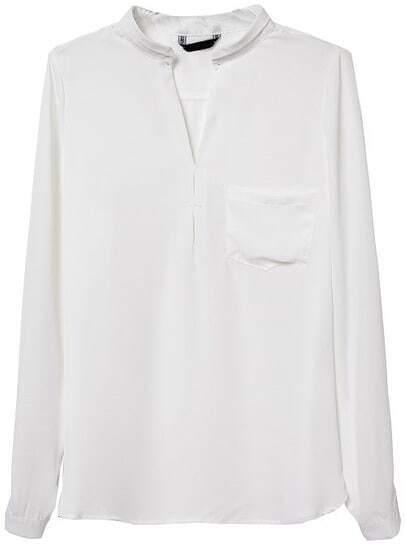 White Long Sleeve Pocket Loose Blouse