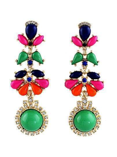 Multicolor Drop Gemstone Gold Bead Earrings