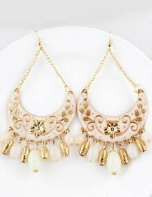 White Bead Tassel Gold Crescent Earrings