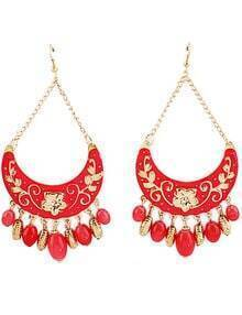 Red Bead Tassel Gold Crescent Earrings