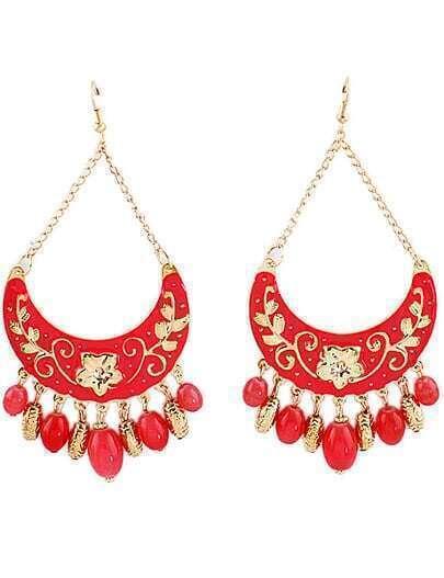 Red Bead Tassel Gold Crescent Earrings