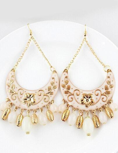 White Bead Tassel Gold Crescent Earrings