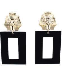 Black Square Gold Pharaoh Earrings