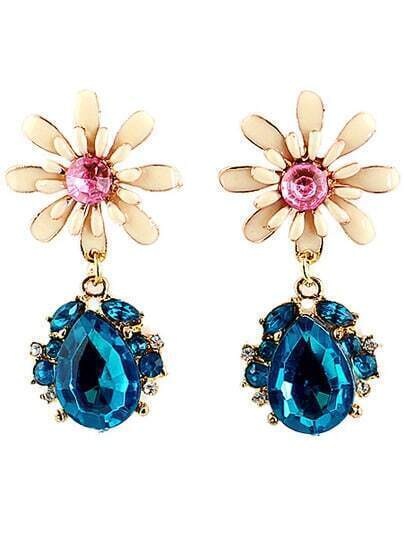 Blue Drop Gemstone Gold Flower Earrings