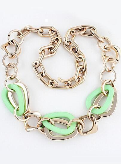 Green Gold Chain Necklace