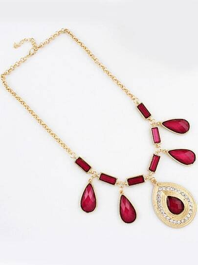 Red Gemstone Gold Drop Necklace