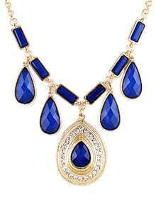 Blue Gemstone Gold Drop Necklace