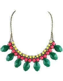 Green Gemstone Retro Gold Bead Chain Necklace