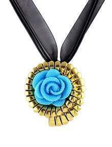 Blue Gold Flower Necklace