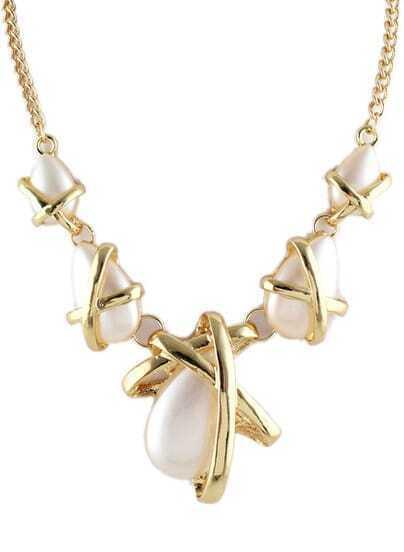 Gold Twine Gemstone Chain Necklace