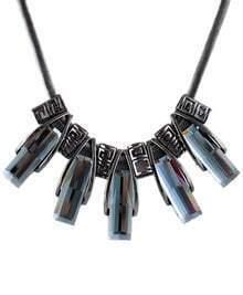Black Gemstone Tassel Gold Chain Necklace