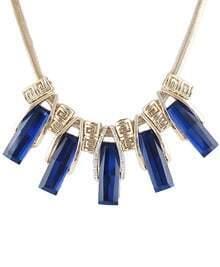 Blue Gemstone Tassel Gold Chain Necklace
