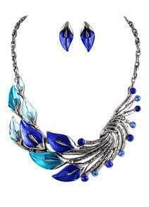 Blue Gemstone Silver Peacock Necklace With Earrings