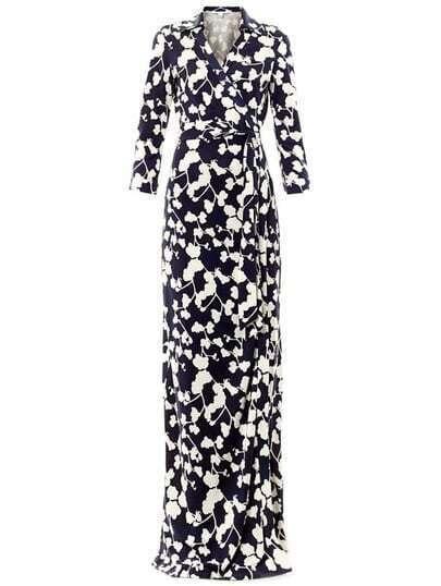 Navy V Neck Floral Print Full Length Dress