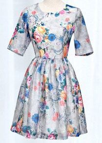 Silver Short Sleeve Floral Print Flare Dress