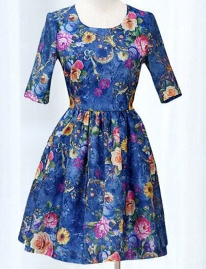 Blue Short Sleeve Floral Print Flare Dress