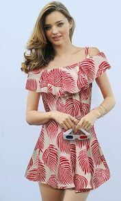 Red Spaghetti Strap Leaves Print Ruffle Dress
