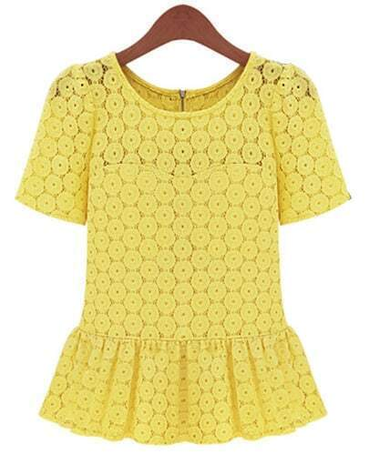 Yellow Short Sleeve Floral Lace Ruffle Blouse