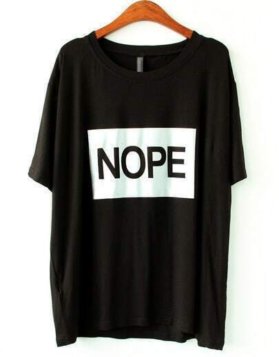 Black Short Sleeve NOPE Print T-shirt