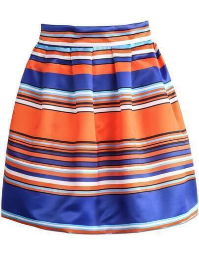 Blue Yellow Striped A Line Skirt