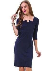 Navy Scoop Neck Half Sleeve Body Conscious Dress