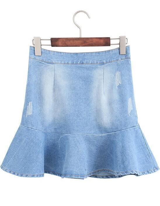 blue bleached ripped ruffle denim skirt shein sheinside